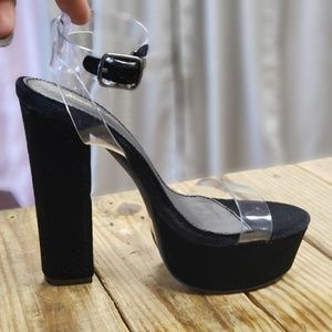 Shoes - Black platform heels with clear strap